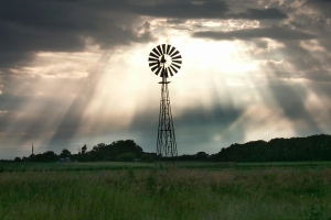 Windmill and ray of light