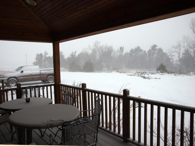 the view from my front porch, a late April blizzard