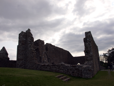 one of the ruins at clonmacnoise monastary in the middle of ireland