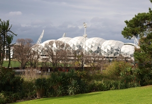 aami park, or melbourne rectangular stadium, as viewed from the royal botanic gardens