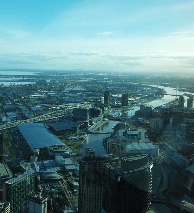 view of port phillip bay from the skydeck in Melbourne Australia