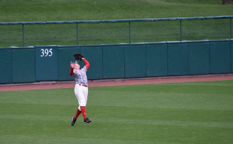 Ryan boldt catching a fly ball