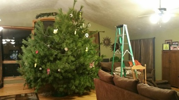 large christmas tree with decorations